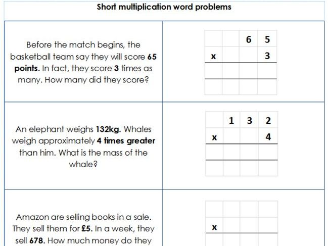 Year 3 / 4 - Short multiplication by 1 digit - Word Problems - Differentiated Worksheets