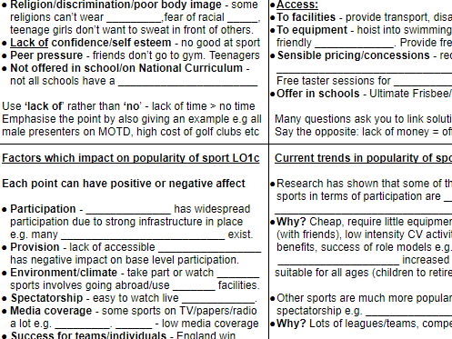 RO51 Contemporary Issues in Sport revision grid - OCR Cambridge Nationals Sports Studies