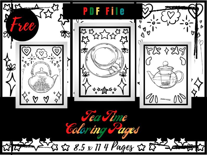 FREE Tea Time Colouring Pages, Free Traditional Mug, Teapot Printable Pages PDF