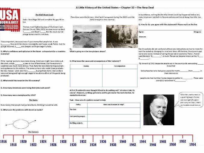 Boom & Bust - Worksheet to support J.W. Davidson's 'A Little History of the United States'Chapter 32