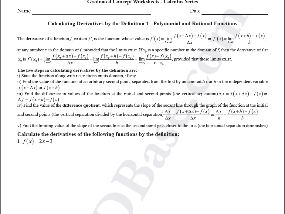 Calculus Worksheet - Derivatives by Definition 1 - Polynomial and Rational Functions