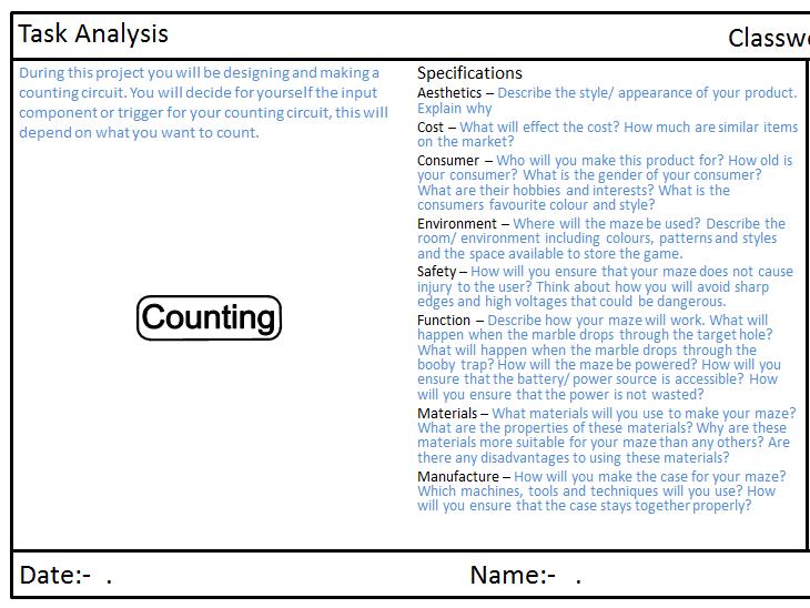 Lap counter portfolio 555 monstable, systems diagrams, task analysis