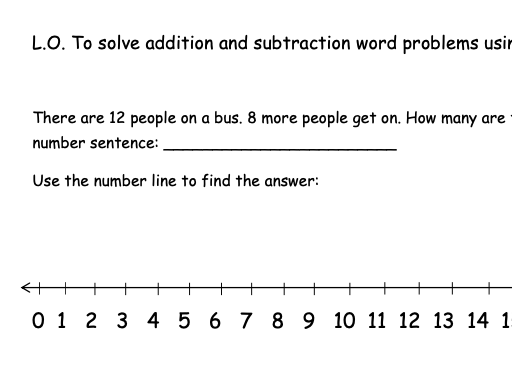 Addition and Subtraction Word Problems using a Number Line (Differentiated)