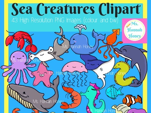 Sea Creatures Marine Animals Clipart Cute