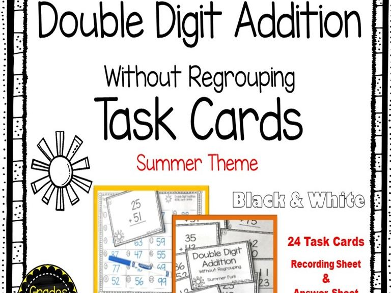 Double Digit Addition Without Regrouping: Summer Theme Math Center