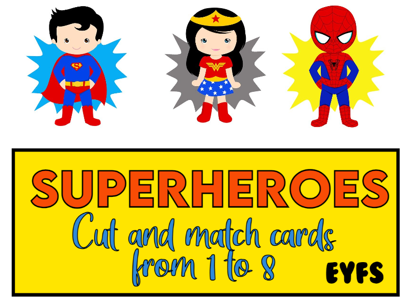 Superheroes Count to 8 Matching Cards EYFS