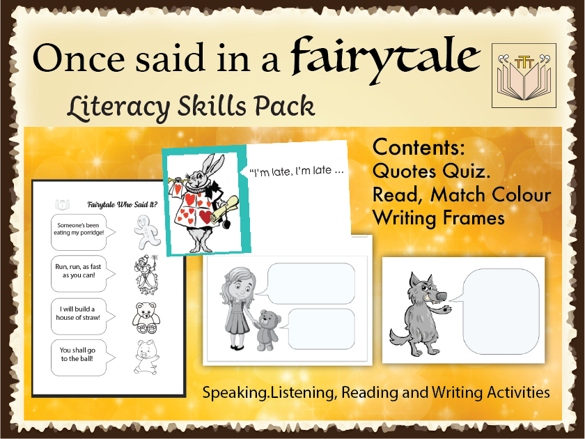 'Once said in a Fairytale' literacy skills pack
