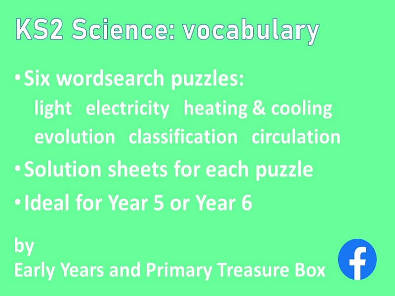 Science KS2 vocabulary wordsearch set electricity evolution classification heating light circulation