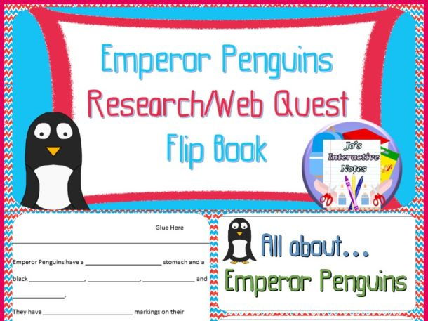 Penguin Awareness Day (January 20th) Research Flip Book