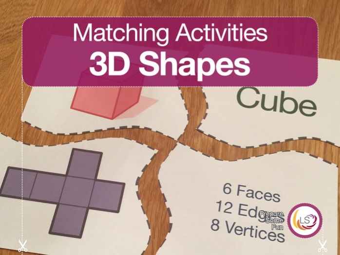 3D Shapes Puzzle with Nets and Properties Matching Activity