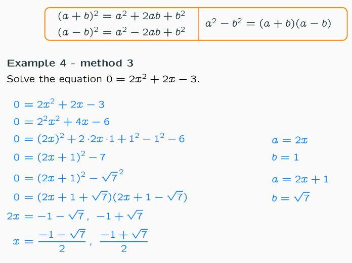 Lessons on Solving Quadratic Equations by Completing the Square