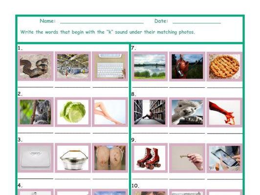 Phonics K Sound Photo Worksheet