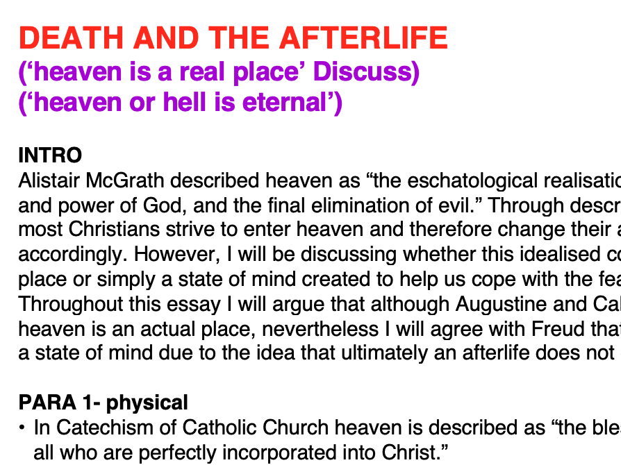 OCR RELIGIOUS STUDIES- FULL AS CHRISTIAN THOUGHT ESSAY PLANS