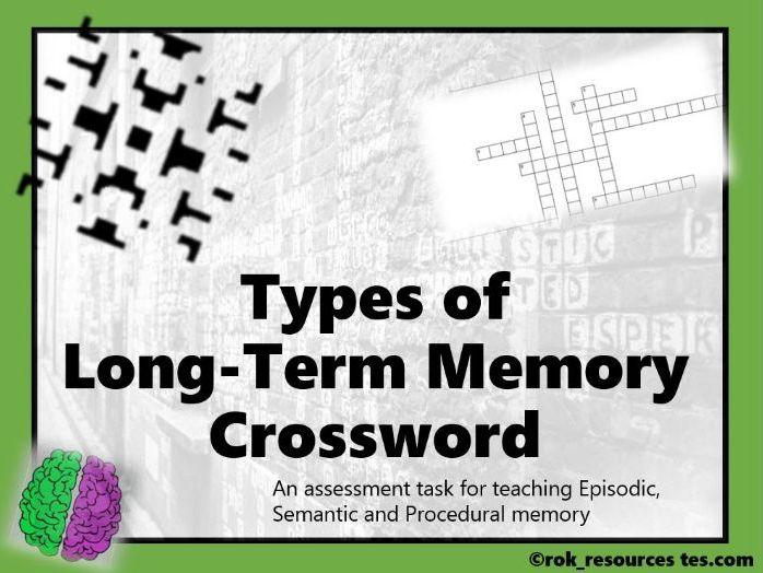 Memory Crossword 3 - worksheet