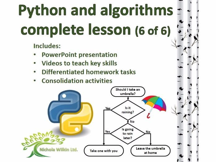 Python and Algorithms Complete Lesson 6 of 6 (GCSE Computer Science and KS3 Computing)
