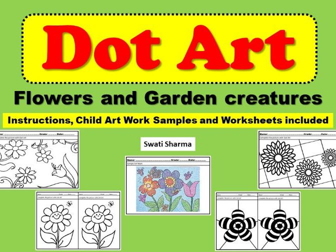 Art Project Dot Art Flowers and Garden Creatures
