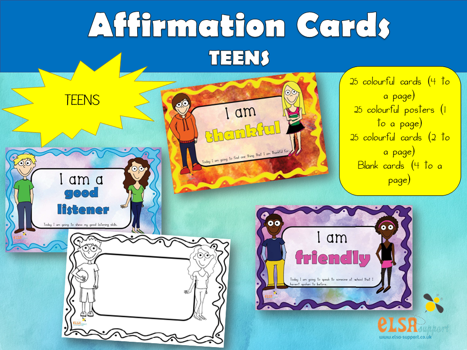 Affirmation Cards for Teens, PSHE, Social and Emotional learning