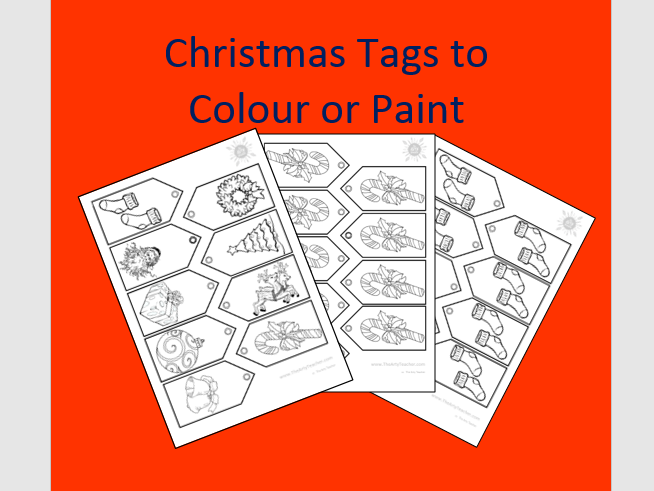 Christmas Tags to Colour or Paint
