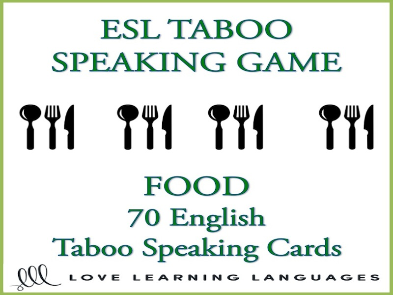 picture relating to Taboo Game Cards Printable named Food stuff - English Taboo Conversing Match - ESL