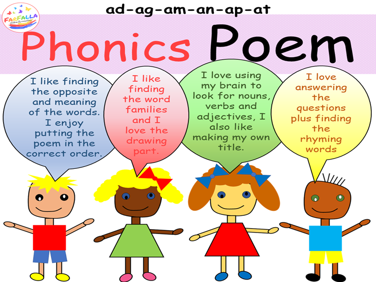 Poem Activities - Word family ad-ag-am-an-ap-at- Vocabulary - Grammar