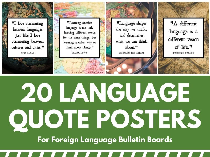 Foreign Language Department Posters: 20 Language Quotes for Bulletin Boards