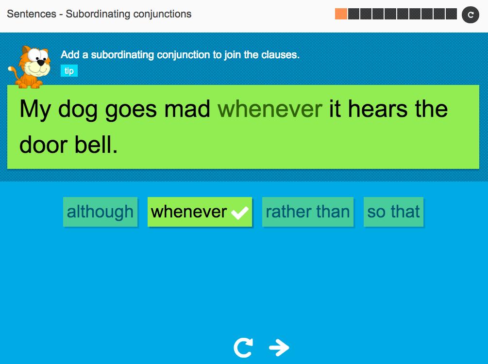 Subordinating conjunctions: Sentences - Interactive Activity - KS3 Spag