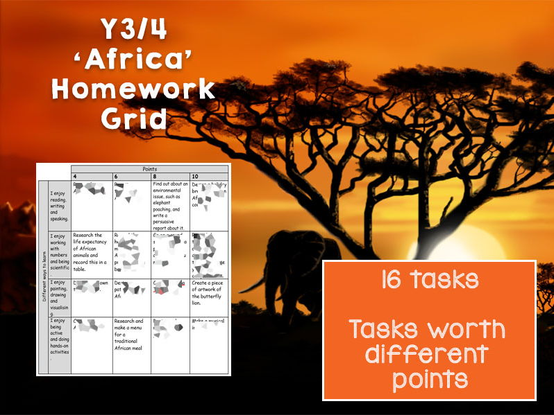 Y3 / Y4 x16 Task Africa Themed Homework Grid