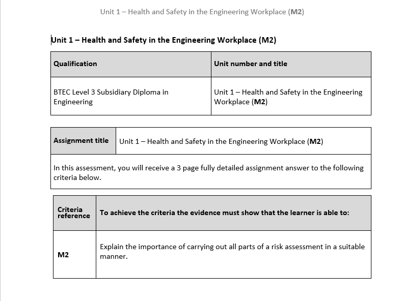 BTEC Level 3 Engineering: Unit 1 (M2) – Health and Safety in the Engineering Workplace