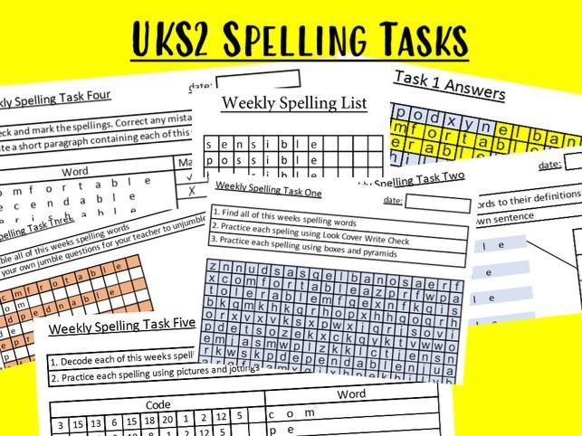 Spelling words Statutory words list 2 Year 6 upper KS2 Spelling tasks NEW for 2021