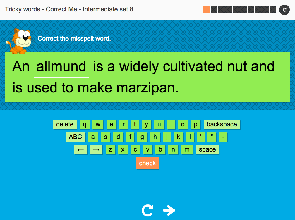 Tricky Words Spelling Interactive Exercise 8 - Intermediate Level - Year 6