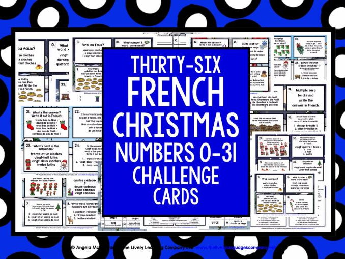 FRENCH CHRISTMAS NUMBERS 0-31 CHALLENGE CARDS