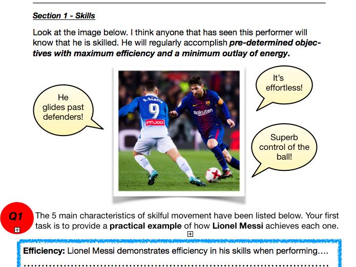Sports Psychology activity sheet - GCSE PE - Skills, Goals and Mental Preparation Techniques