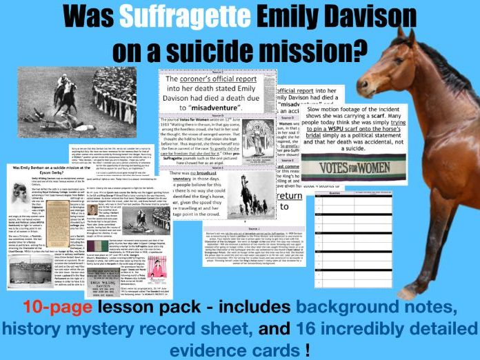 Was Suffragette Emily Davison on a suicide mission? 10-page lesson pack