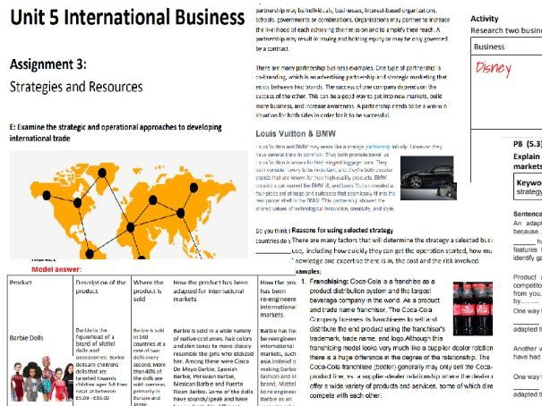 BTEC National Business Level 3 Unit 5: International Business- Assignment 3 Student Booklet