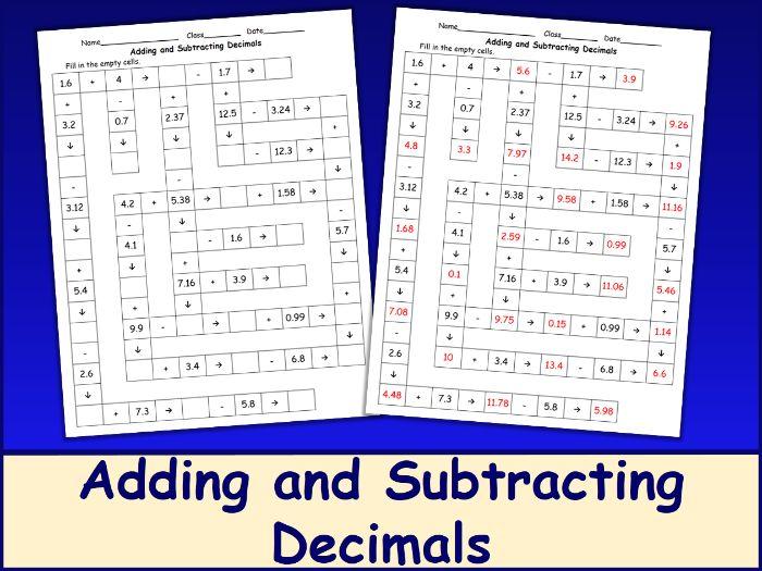 Adding and Subtracting Decimals Crossword Puzzle