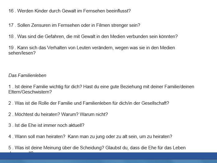 Advanced Higher German Speaking Questions