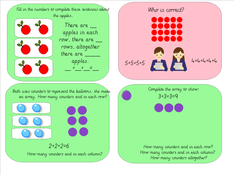 Year 1 Arrays: Introducing Multiplication With Repeated Addition