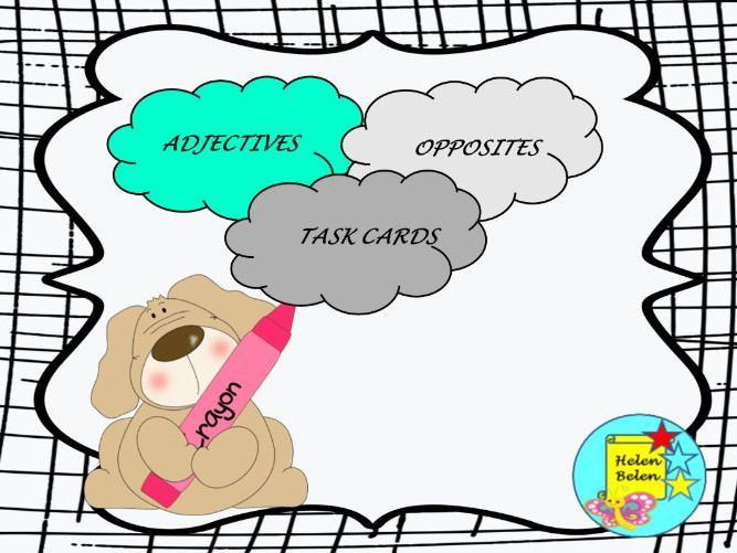 Task cards adjectives -opposites