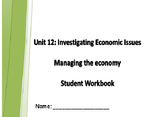 AQA GCSE Economics Unit 12 Managing the Economy Homework Booklet