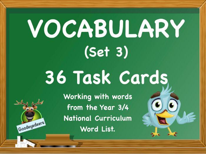 Vocabulary Challenge Cards - Year 3/4 Word List (Set 3)