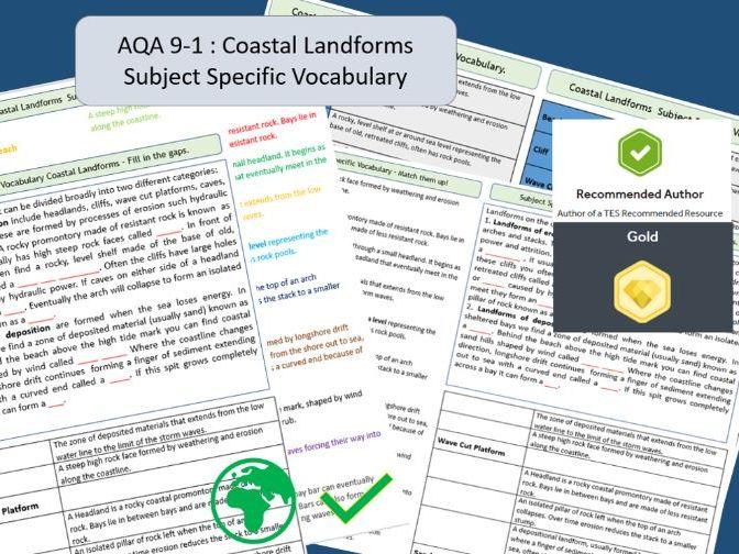AQA 9-1 GCSE Geography - Coastal Landforms ,  Key Vocabulary Literacy Activity Sheets.