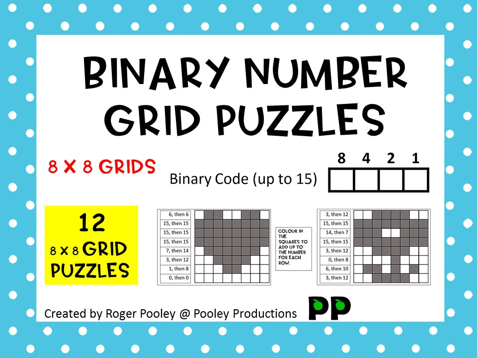 Binary Number Grid Puzzles - (4 x 2) x 8 grids