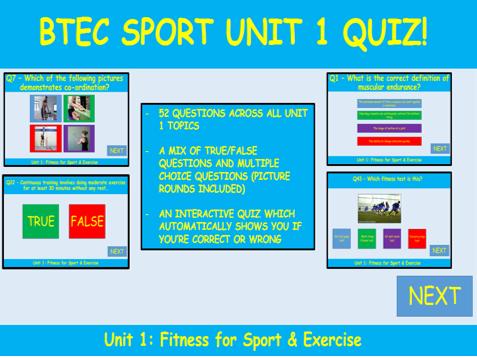 BTEC Sport quiz