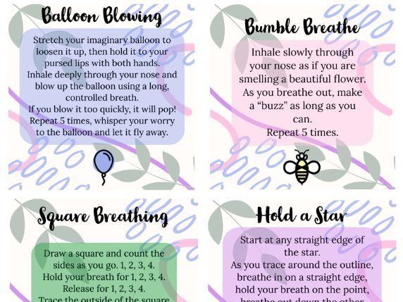Calm Corner Breathing Technique Prompt Cards