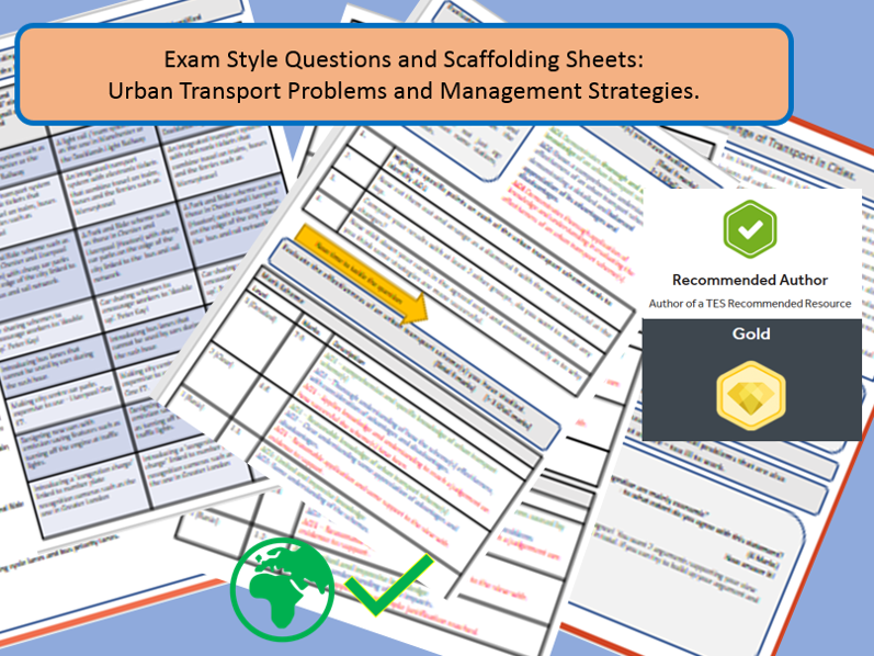 GCSE AQA 9-1: Urban Transport Management Exam Style Questions and Scaffolding Sheets