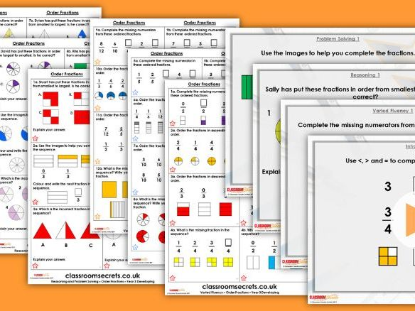 Year 3 Order Fractions Summer Block 1 Maths Lesson Pack
