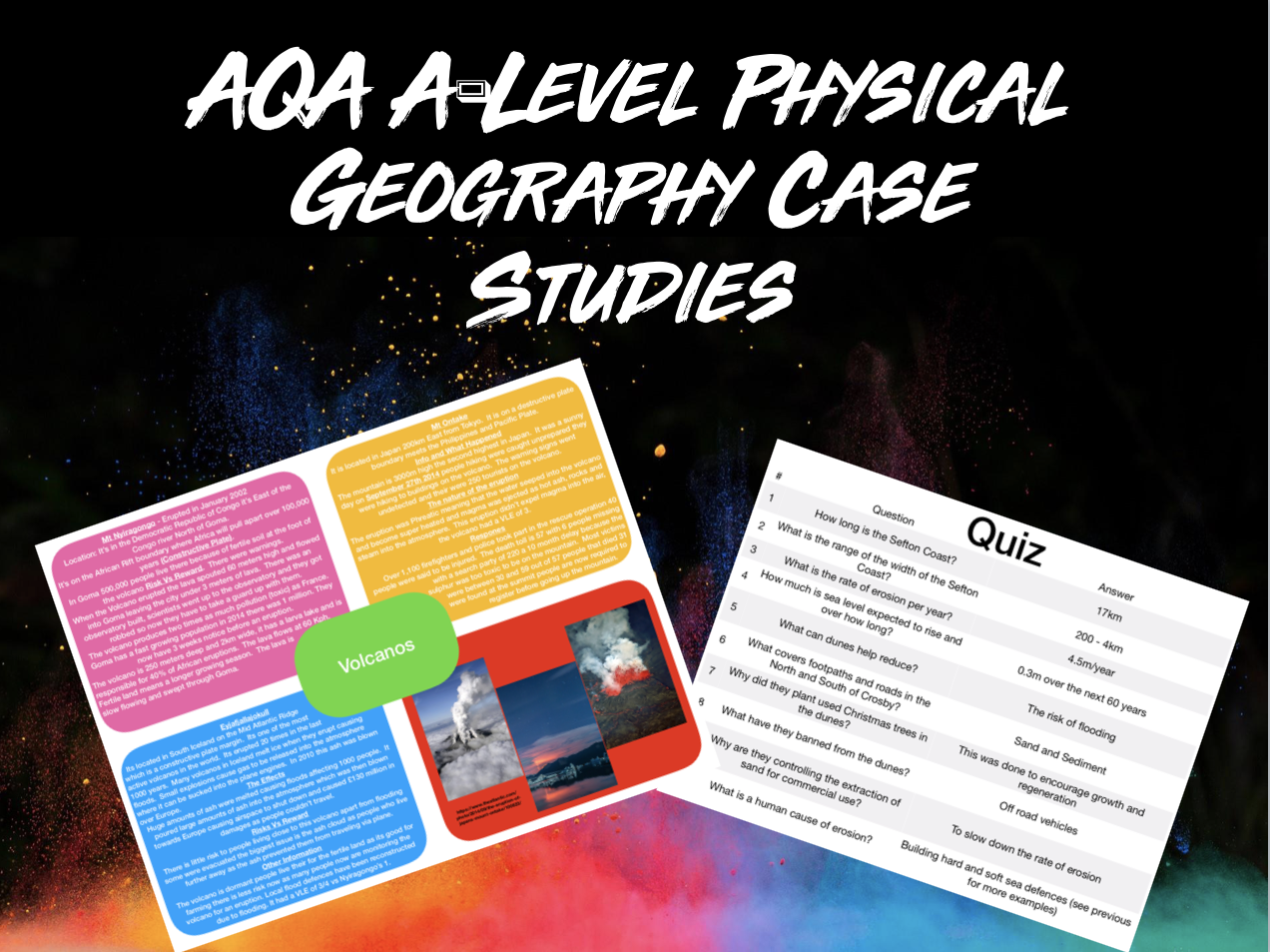 All AQA A-Level Geography Physical Case Studies