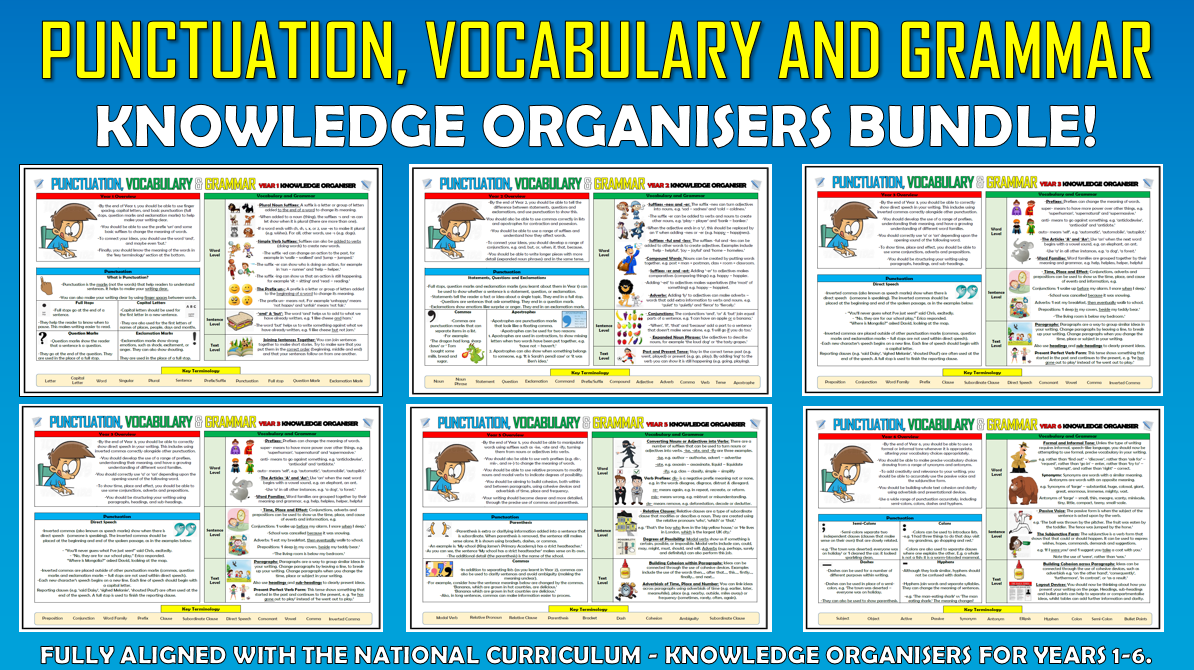 Punctuation, Vocabulary and Grammar Knowledge Organisers Primary Bundle!