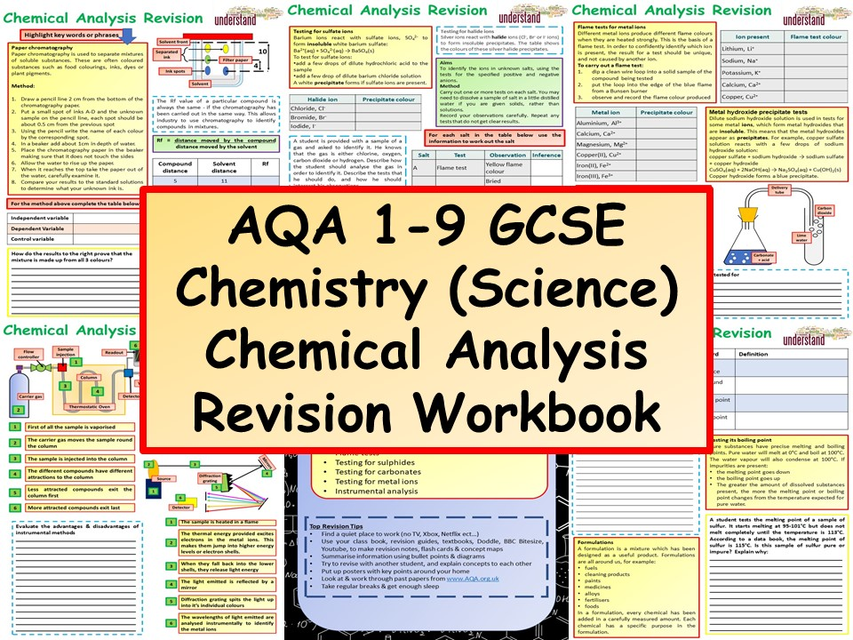 AQA 1-9 GCSE Chemistry (Science) Chemical Analysis Revision Workbook