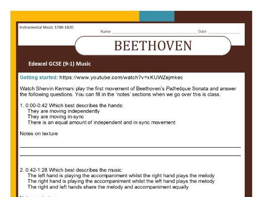 MUSIC EDEXCEL GCSE (9-1) Beethoven 'Pathetique' Getting Started